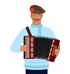 Man in russian national costume with accordion vector