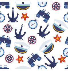 Marine symbols nautical anchor and captain hat vector