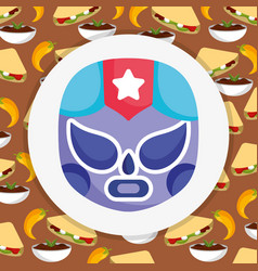 mexican lucha libre mask with food traditional vector image