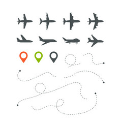 plane route flight directionally striped lines vector image