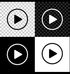 play icon isolated on black white and transparent vector image