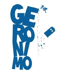 Police Box flying with word Geronimo vector