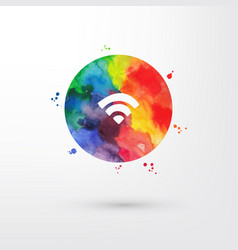 rainbow grungy watercolor wifi icon inside vector image