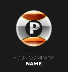 realistic silver letter p logo in the circle shape vector image