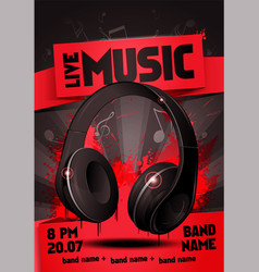 Red live electro music party invitation poster vector