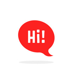 red speech bubble with hi word vector image