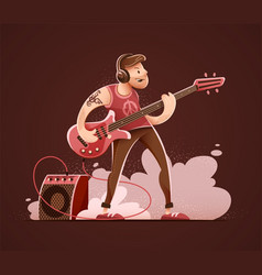 rock guitar player vector image