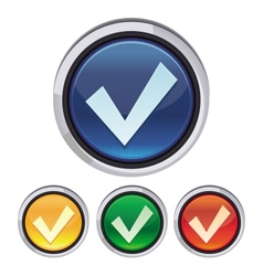 round button with tick sign vector image