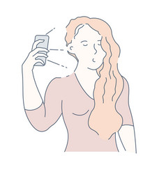 selfie and frontal camera girl with smartphone vector image