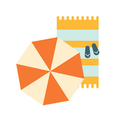 set of blanket umbrella and flip-flops on the vector image
