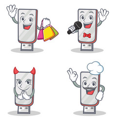 Set of flashdisk character with shopping karaoke vector