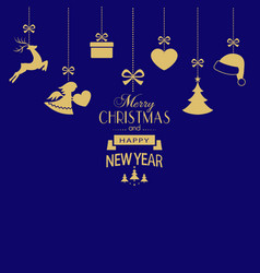 set of hanging golden christmas ornaments on dark vector image