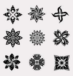 Set of heraldic decoration flowers vector