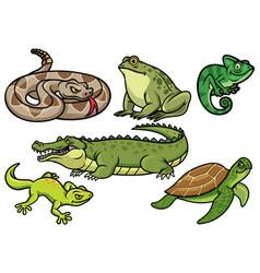 Set reptile cartoon vector