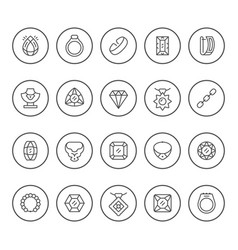 set round line icons jewelry vector image