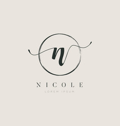 Simple elegant initial letter type n logo sign vector
