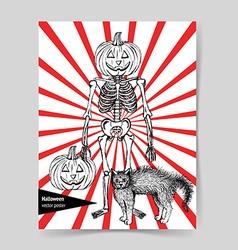 Sketch Halloween poster vector image