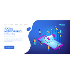 social media marketing isometric 3d landing page vector image