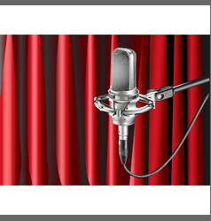 Studio microphone against background vector