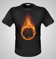 t shirts Black Fire Print man 22 vector image