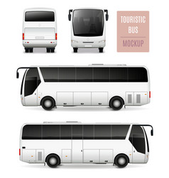 Touristic bus realistic advertising template vector