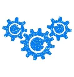 Transmission wheels rotation grainy texture icon vector