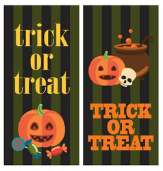 trick or treat halloween poster with pumpkins vector image