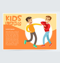 Two teen boys fighting each other teen kids vector