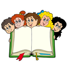 Various kids holding book vector