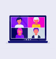 Video conference call on computer screen vector