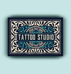 vintage logo template for tattoo studio vector image