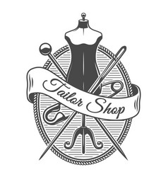 Vintage tailor shop monochrome logotype vector