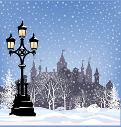 winter cityscape with castle view city park vector image
