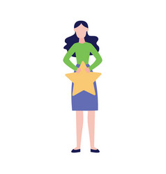 woman makes a review quality service vector image