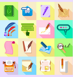 Write letter icons set flat style vector