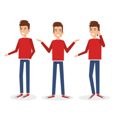 Young man doing different poses vector