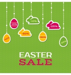 Easter sale poster with hanging price stickers vector image