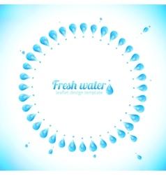 Realistic water drops circle frame vector image