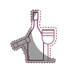 sticker wine bottle and glass with corkscrew vector image vector image