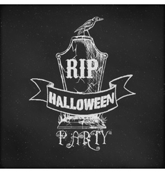 Vintage sketch on blackboard for Halloween Party vector image vector image