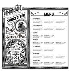 american food menu vector image vector image