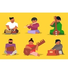Indian musician set vector image