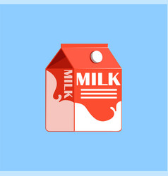 red carton box of milk fresh and healthy dairy vector image