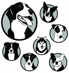 round dog emblems and stickers vector image