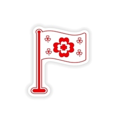 stylish paper sticker on white background flag vector image vector image