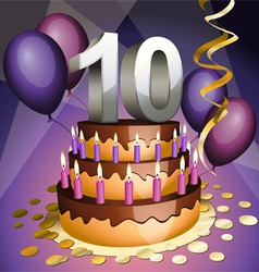 tenth anniversary cake vector image