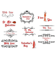 Valentines Day messages and headlines vector image vector image