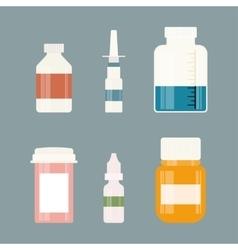 Medicine bottles collection Bottles of drugs vector image