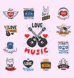 set of vintage musical labels hand drawn templates vector image