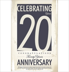 20 years anniversary retro background vector image vector image